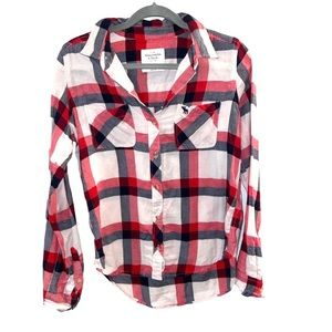 Abercrombie Super Soft Red Plaid Check Flannel Top